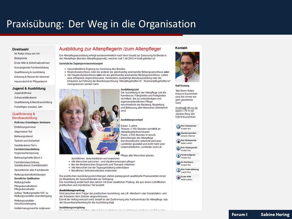 Praxisübung: Der Weg in die Organisation