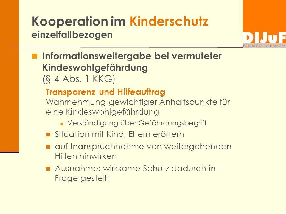 Kooperation im Kinderschutz einzelfallbezogen