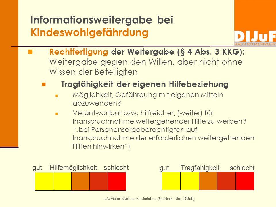 Informationsweitergabe bei Kindeswohlgefährdung