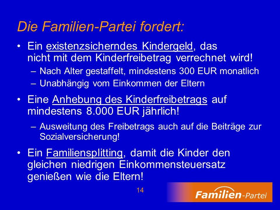 Die Familien-Partei fordert: