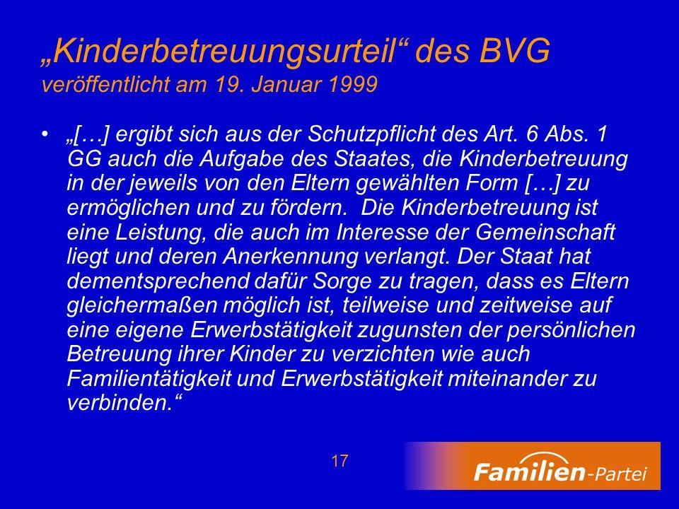 """""""Kinderbetreuungsurteil des BVG veröffentlicht am 19. Januar 1999"""