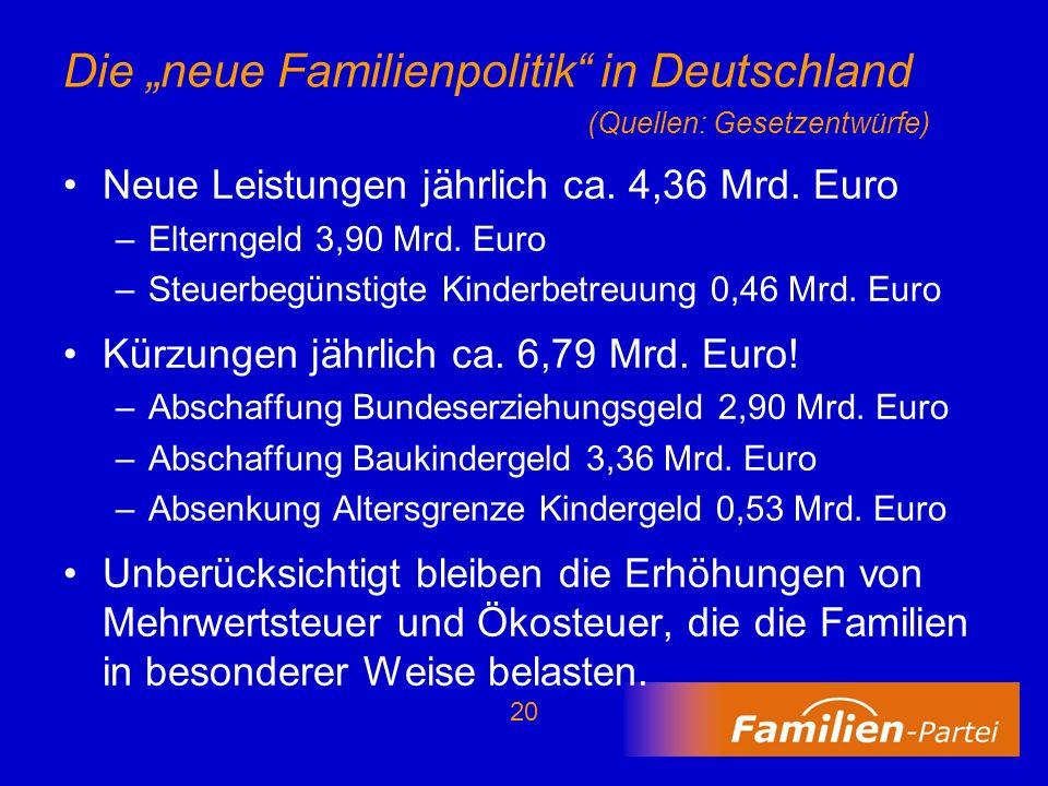 """Die """"neue Familienpolitik in Deutschland (Quellen: Gesetzentwürfe)"""