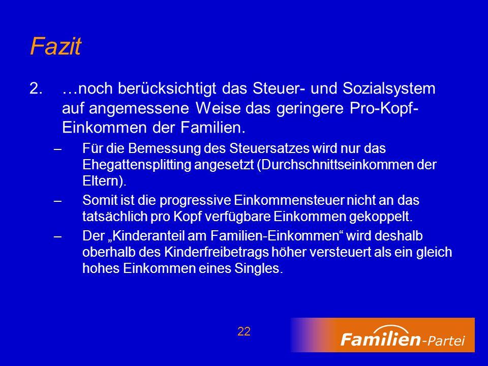 Fazit …noch berücksichtigt das Steuer- und Sozialsystem auf angemessene Weise das geringere Pro-Kopf-Einkommen der Familien.