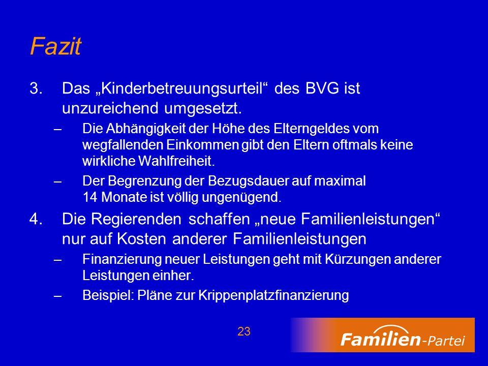 """Fazit Das """"Kinderbetreuungsurteil des BVG ist unzureichend umgesetzt."""