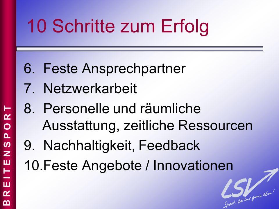 10 Schritte zum Erfolg 6. Feste Ansprechpartner 7. Netzwerkarbeit