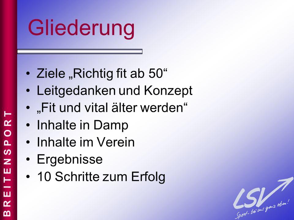 """Gliederung Ziele """"Richtig fit ab 50 Leitgedanken und Konzept"""