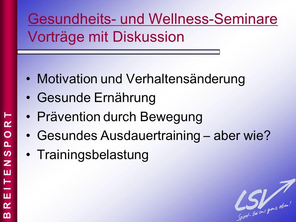 Gesundheits- und Wellness-Seminare Vorträge mit Diskussion