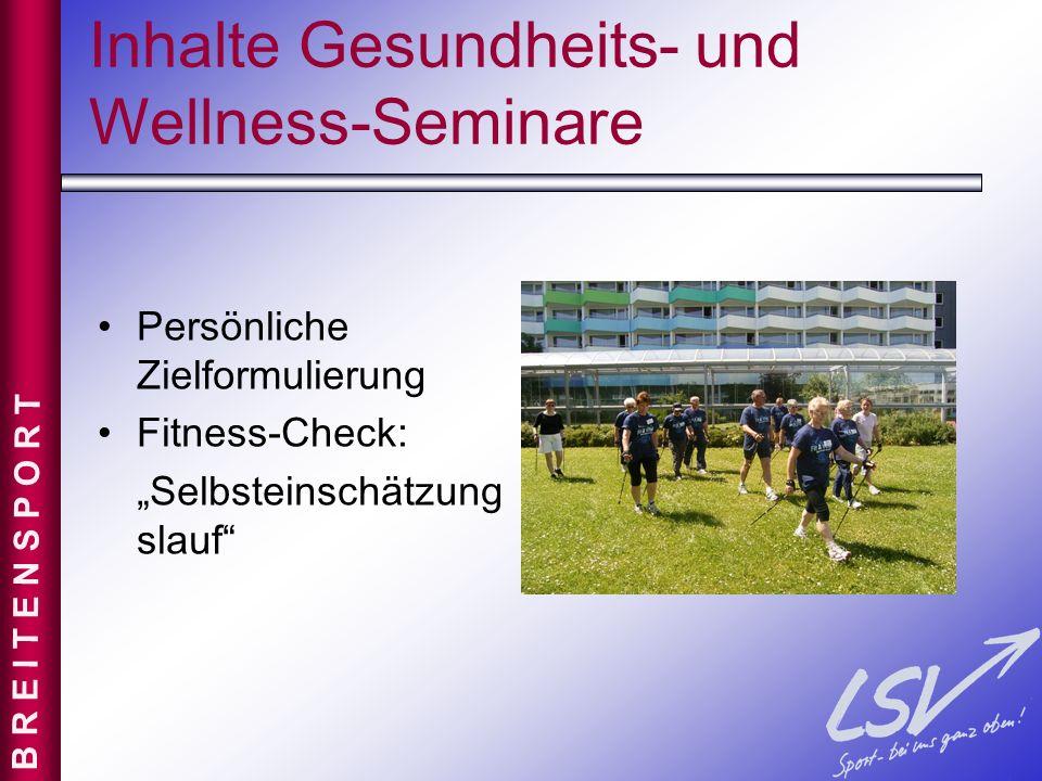 Inhalte Gesundheits- und Wellness-Seminare