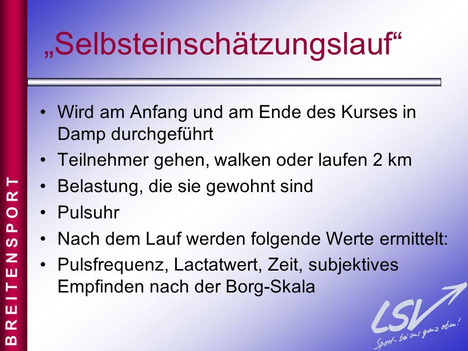 """""""Selbsteinschätzungslauf"""