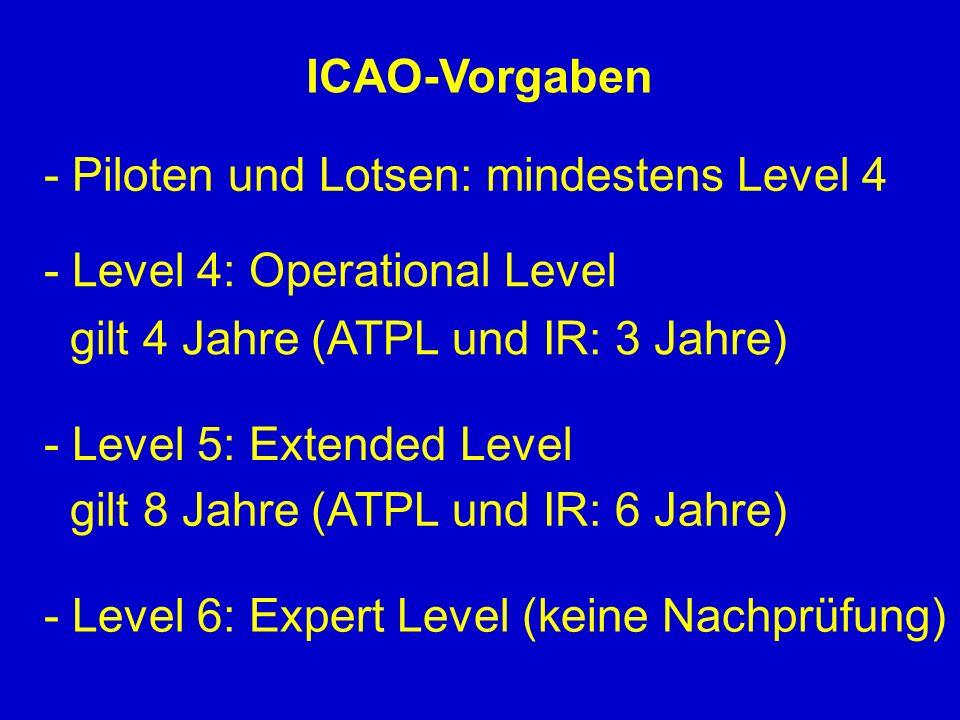 ICAO-Vorgaben - Piloten und Lotsen: mindestens Level 4. - Level 4: Operational Level. gilt 4 Jahre (ATPL und IR: 3 Jahre)