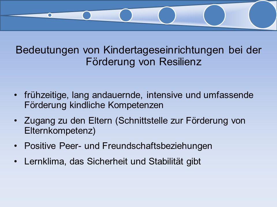 99 99. Bedeutungen von Kindertageseinrichtungen bei der Förderung von Resilienz.