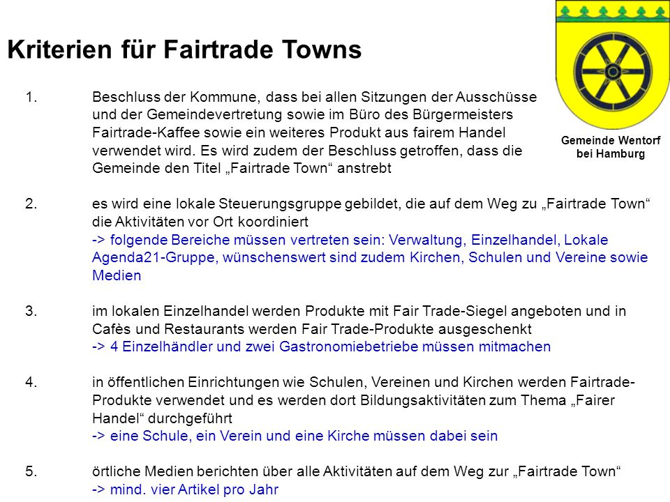 Kriterien für Fairtrade Towns