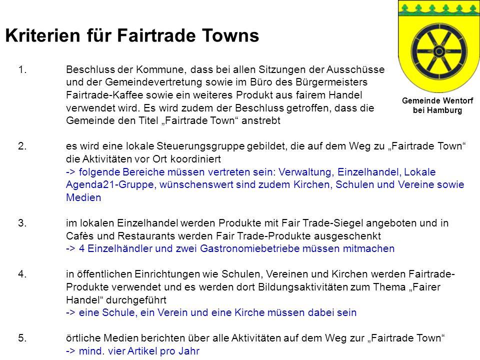 Kriterien für Fairtrade Towns