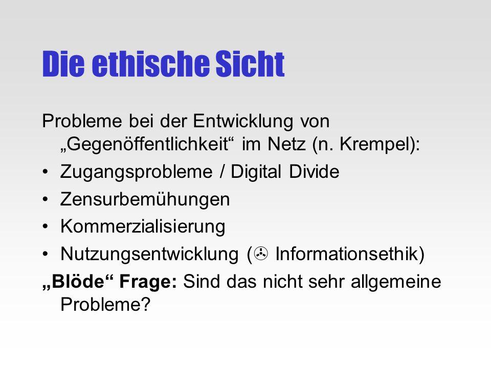 """Die ethische SichtProbleme bei der Entwicklung von """"Gegenöffentlichkeit im Netz (n. Krempel): Zugangsprobleme / Digital Divide."""