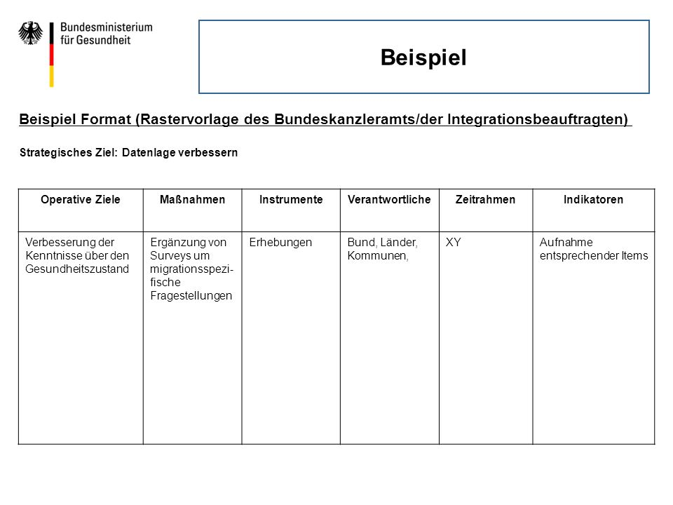 Beispiel Beispiel Format (Rastervorlage des Bundeskanzleramts/der Integrationsbeauftragten) Strategisches Ziel: Datenlage verbessern.