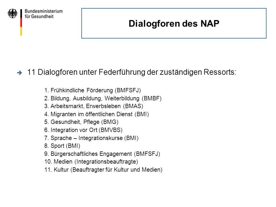 Dialogforen des NAP 11 Dialogforen unter Federführung der zuständigen Ressorts: