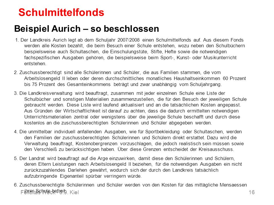 Schulmittelfonds Beispiel Aurich – so beschlossen