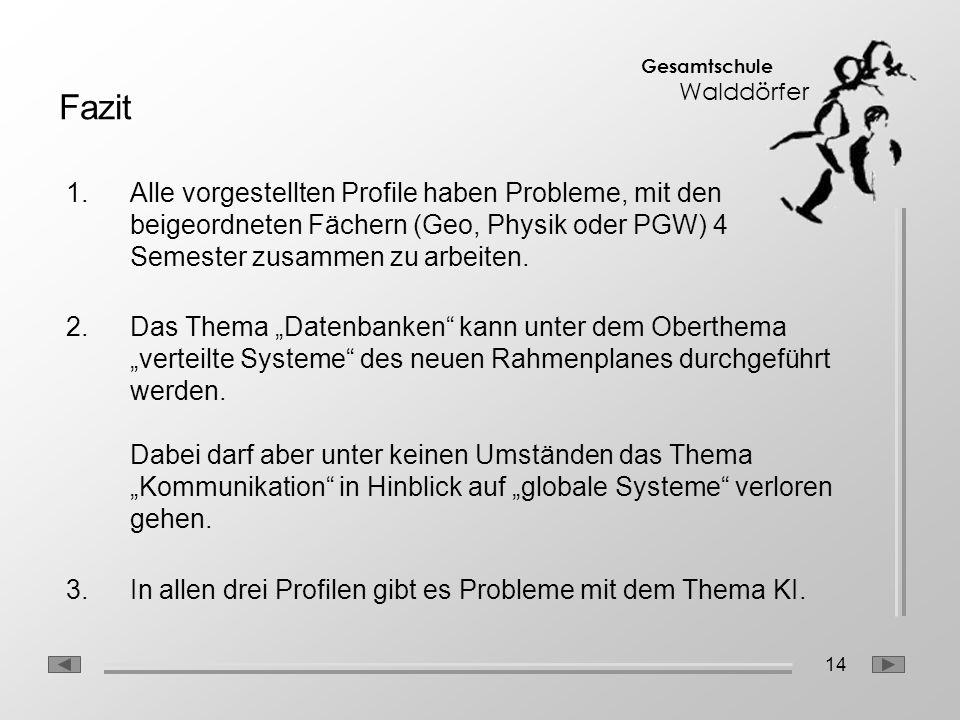 Fazit Alle vorgestellten Profile haben Probleme, mit den beigeordneten Fächern (Geo, Physik oder PGW) 4 Semester zusammen zu arbeiten.