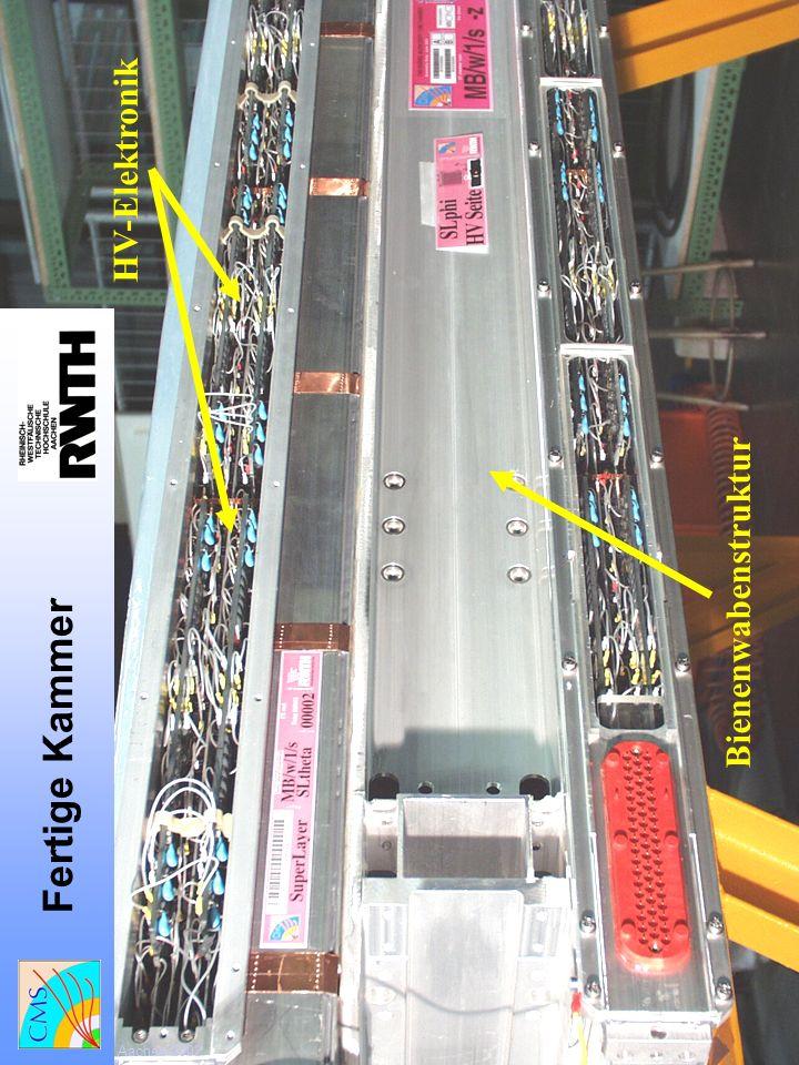 Fertige Kammer HV-Elektronik Bienenwabenstruktur