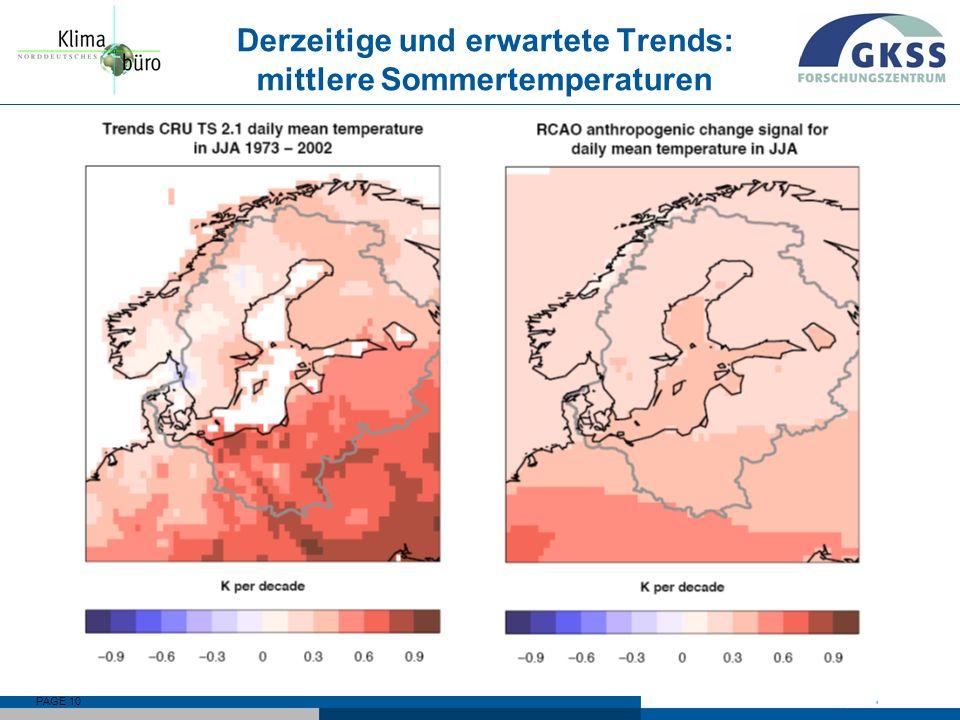 Derzeitige und erwartete Trends: mittlere Sommertemperaturen