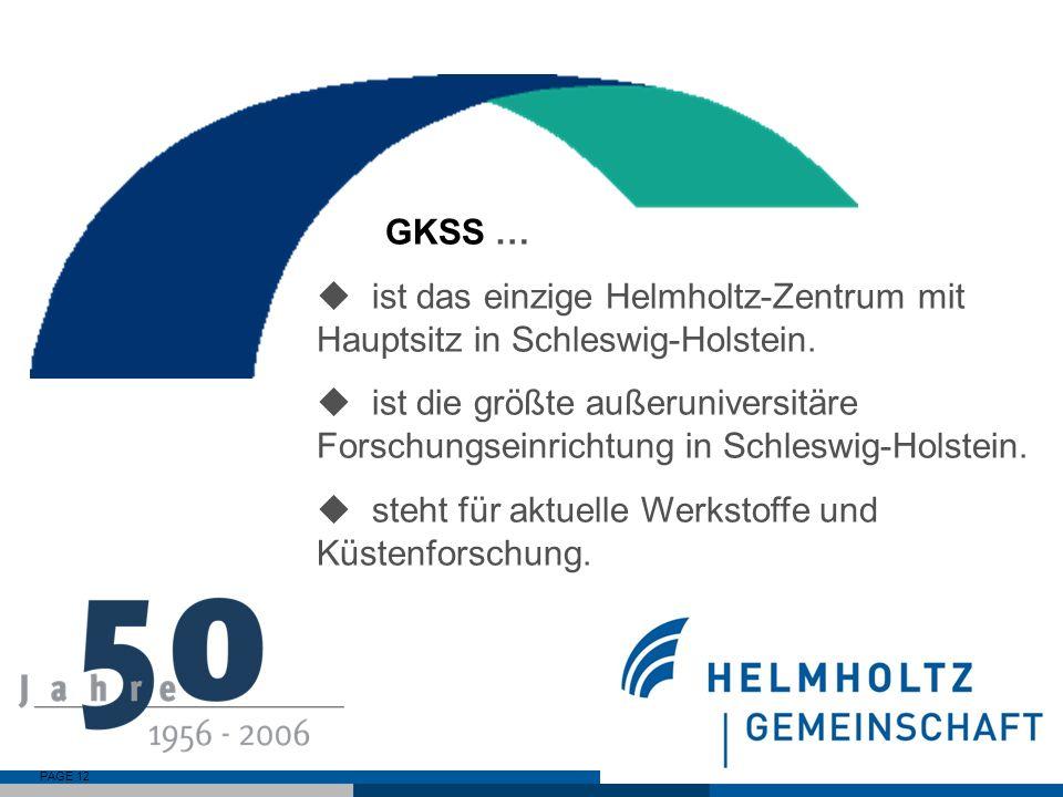 GKSS …ist das einzige Helmholtz-Zentrum mit Hauptsitz in Schleswig-Holstein.