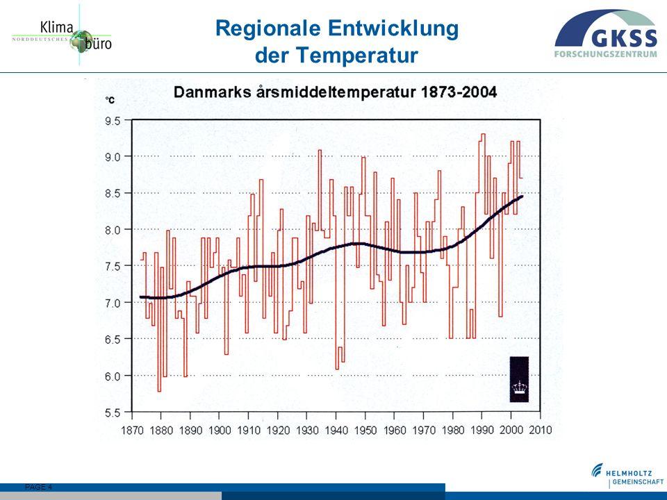 Regionale Entwicklung der Temperatur