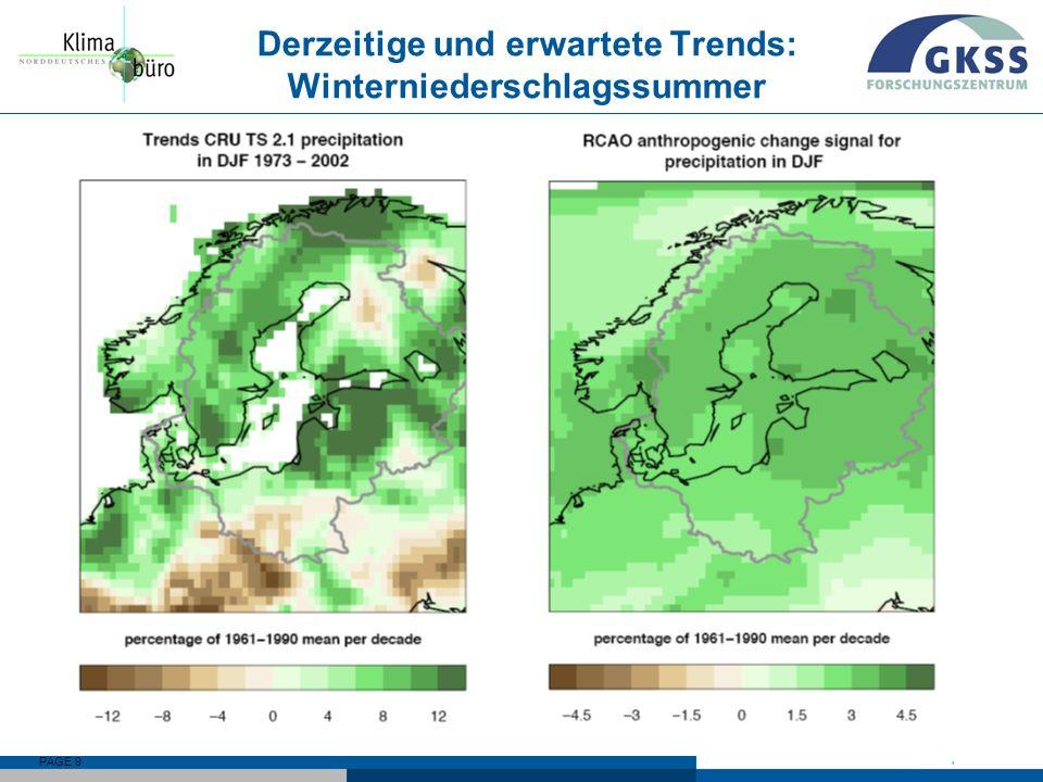 Derzeitige und erwartete Trends: Winterniederschlagssummer