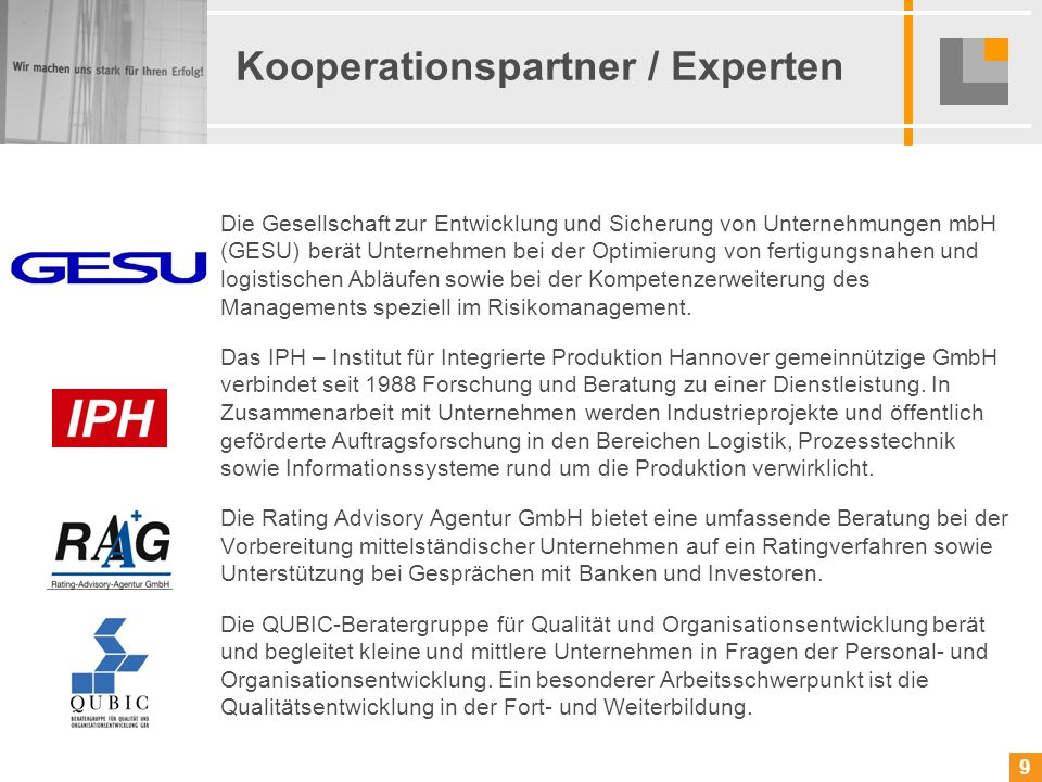 Kooperationspartner / Experten
