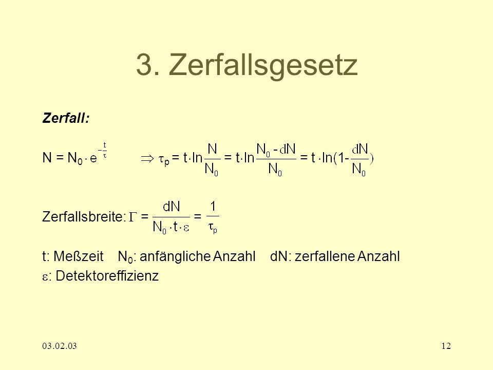 3. Zerfallsgesetz Zerfall: N = N0  p = t = t = t