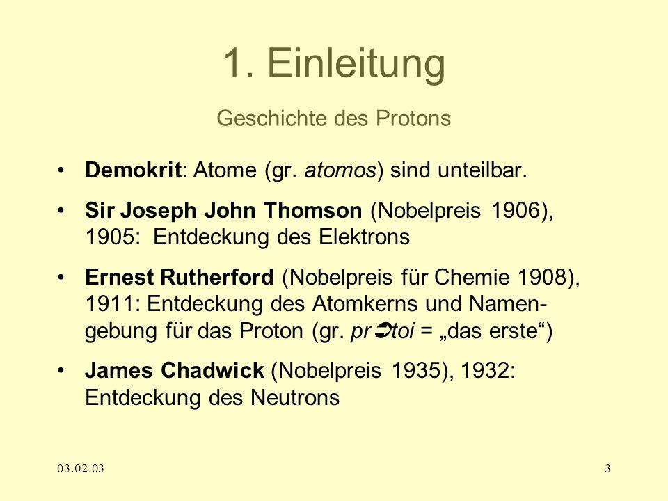 1. Einleitung Geschichte des Protons