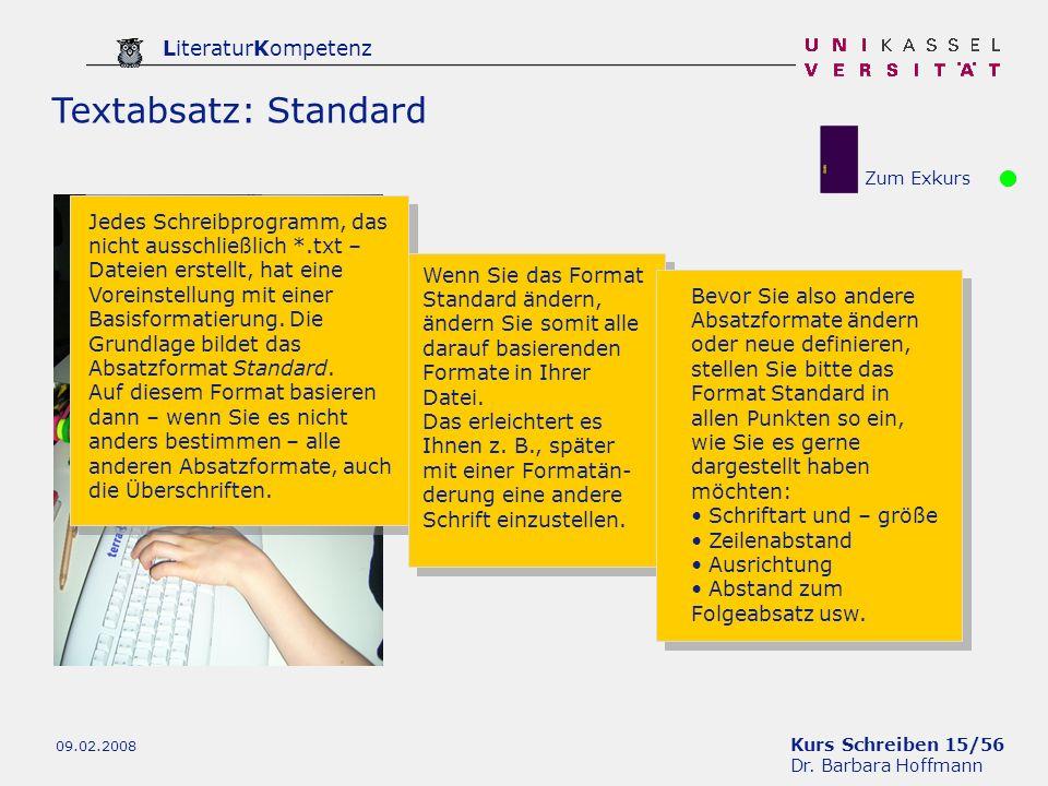 Textabsatz: StandardZum Exkurs.
