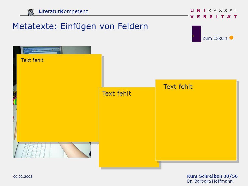 Metatexte: Einfügen von Feldern