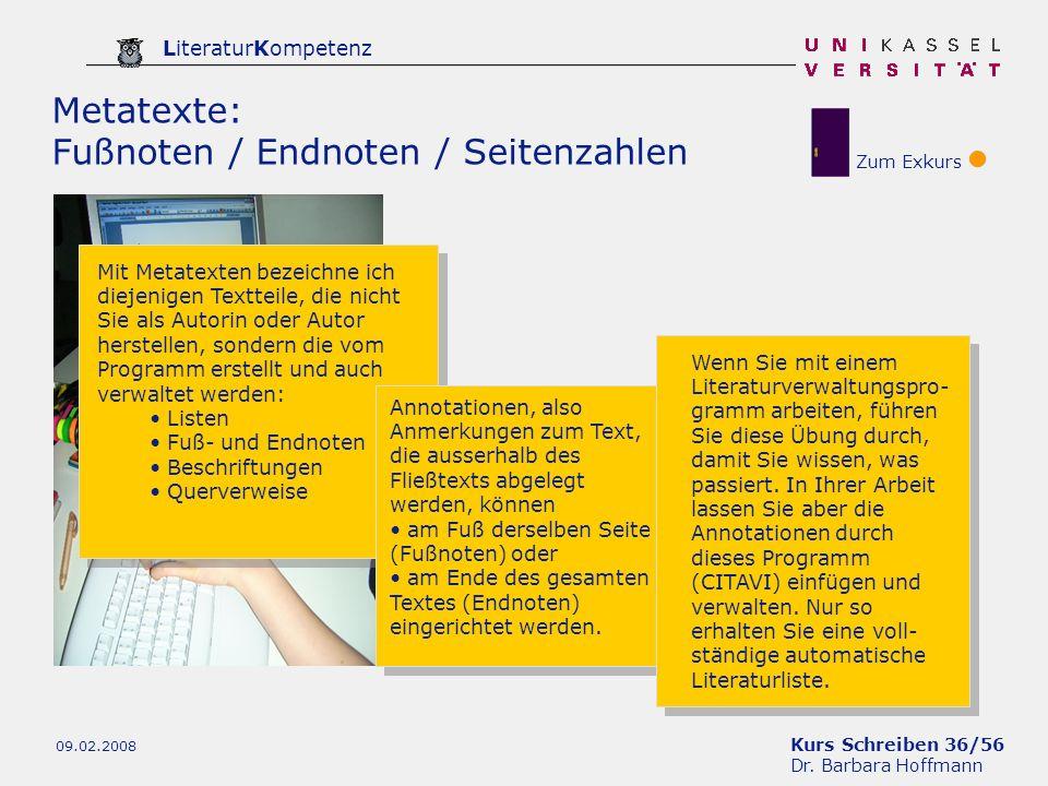 Metatexte: Fußnoten / Endnoten / Seitenzahlen