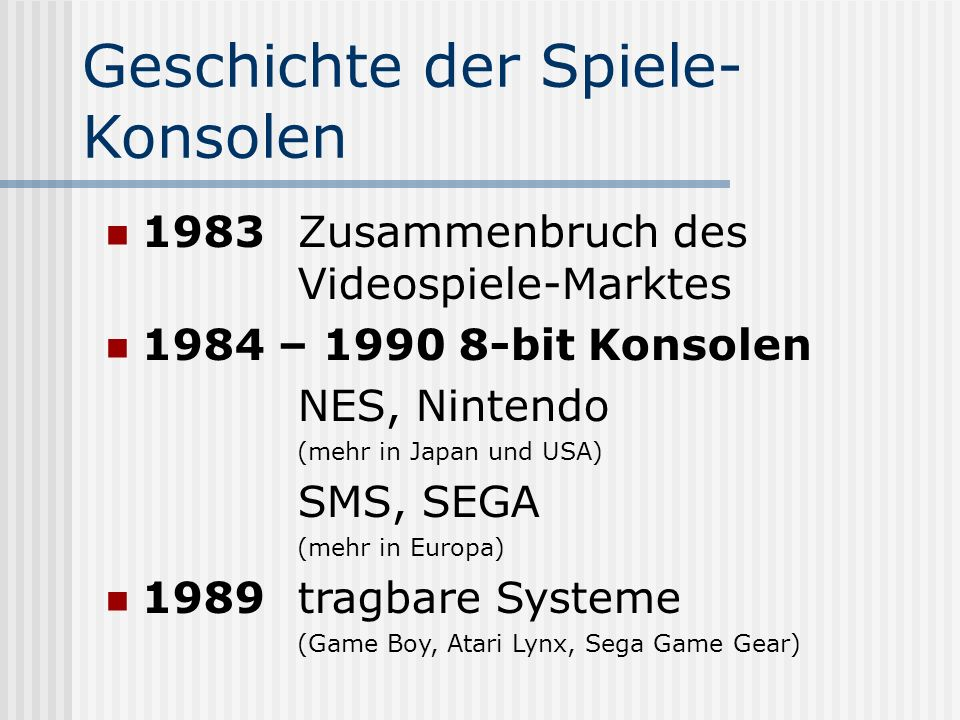Geschichte der Spiele-Konsolen