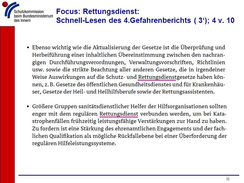 Focus: Rettungsdienst: Schnell-Lesen des 4.Gefahrenberichts ( 3'); 4 v. 10
