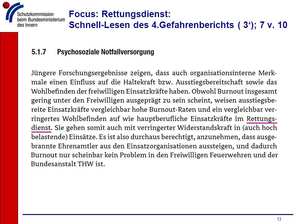 Focus: Rettungsdienst: Schnell-Lesen des 4.Gefahrenberichts ( 3'); 7 v. 10