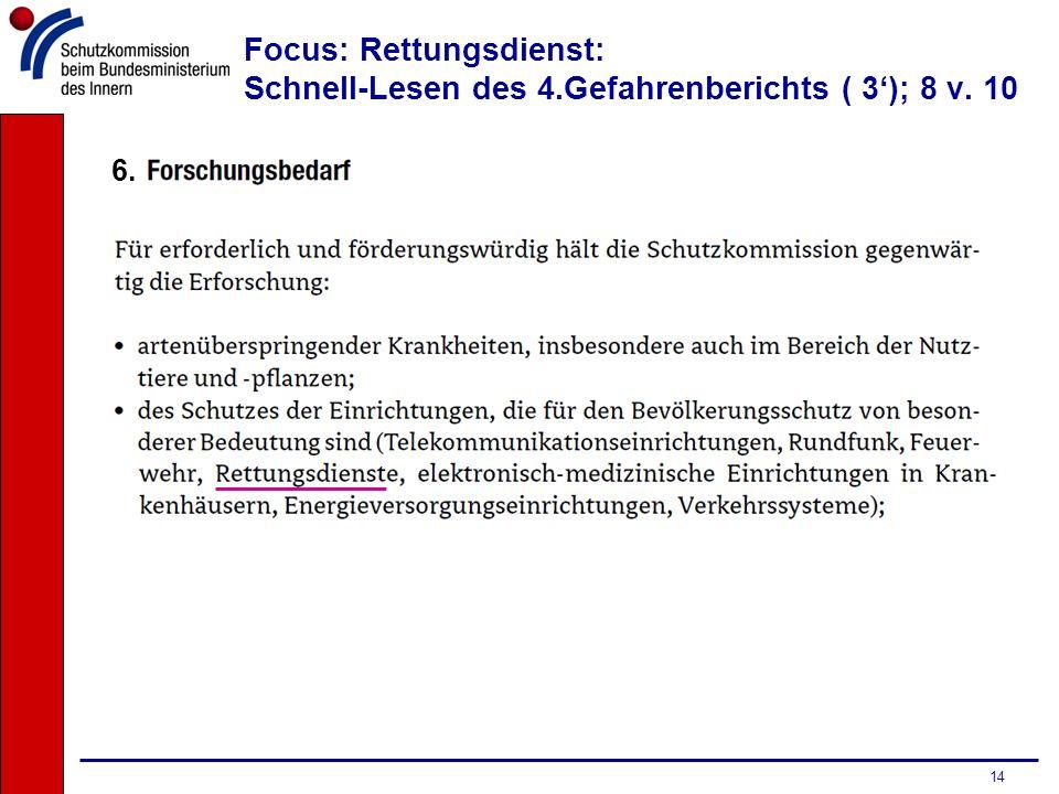 Focus: Rettungsdienst: Schnell-Lesen des 4.Gefahrenberichts ( 3'); 8 v. 10