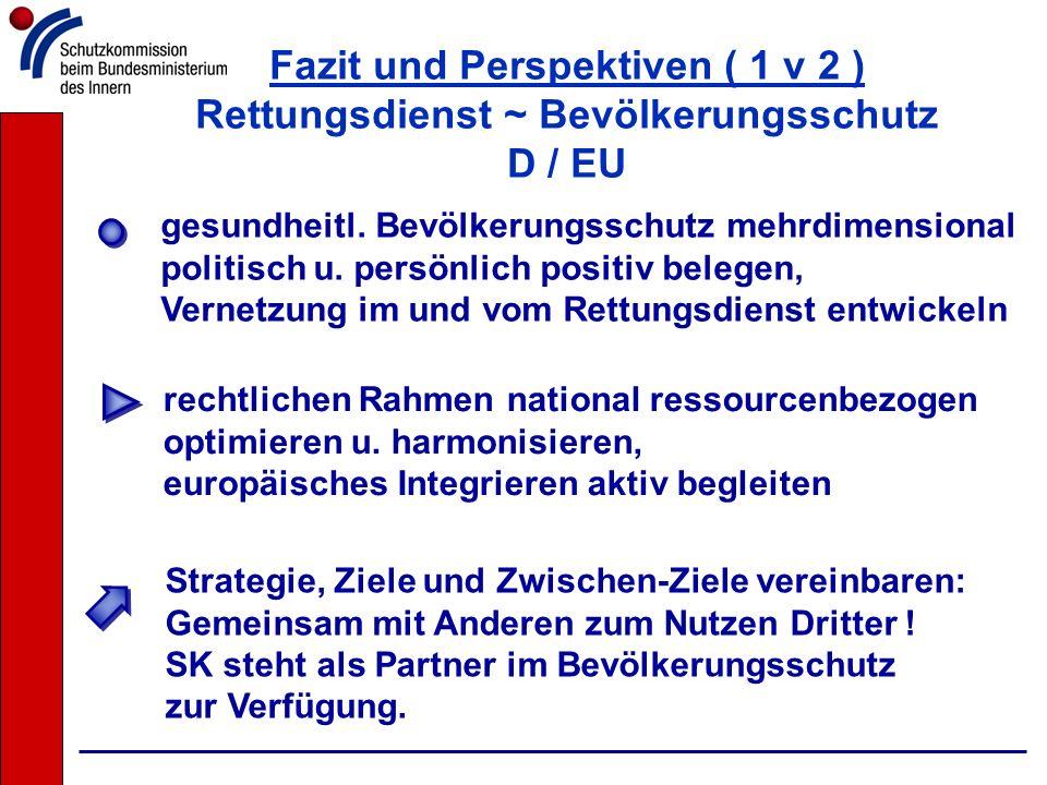 Fazit und Perspektiven ( 1 v 2 ) Rettungsdienst ~ Bevölkerungsschutz D / EU