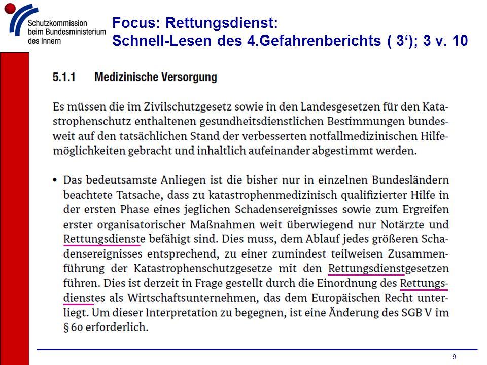 Focus: Rettungsdienst: Schnell-Lesen des 4.Gefahrenberichts ( 3'); 3 v. 10