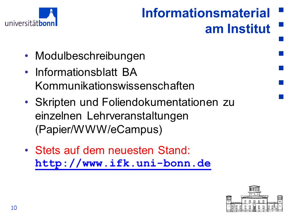 Informationsmaterial am Institut