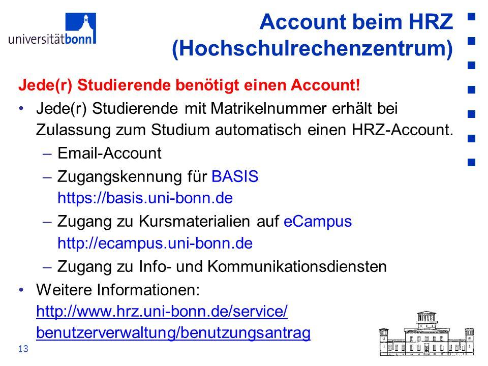 Account beim HRZ (Hochschulrechenzentrum)