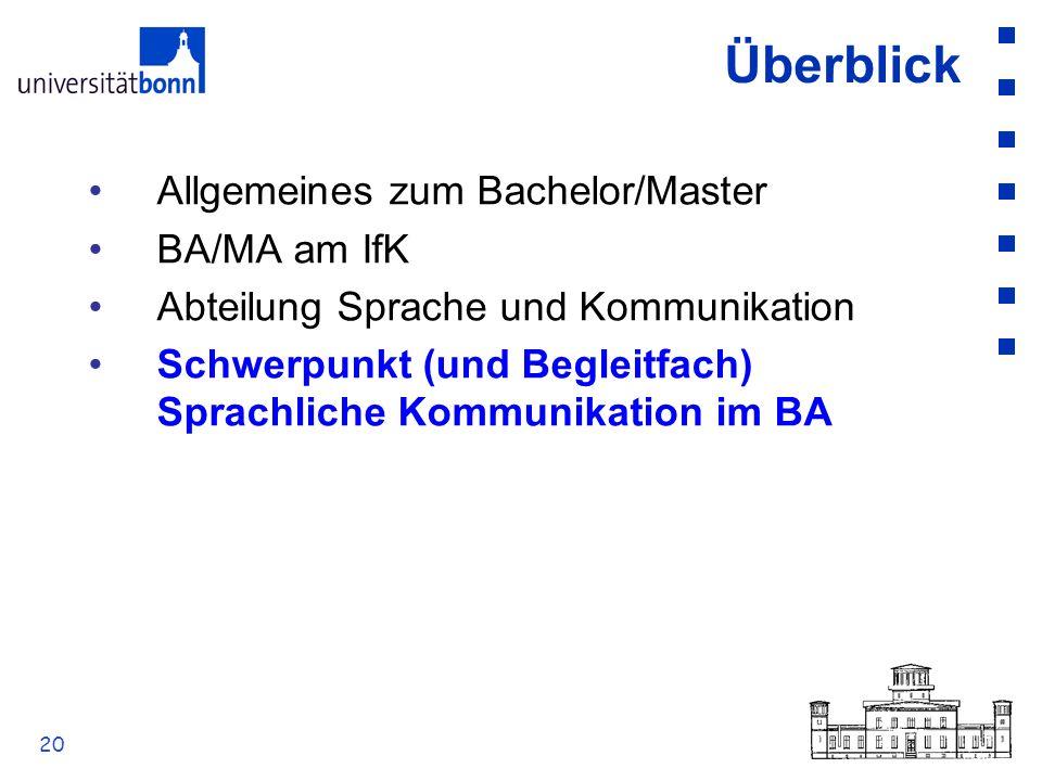Überblick Allgemeines zum Bachelor/Master BA/MA am IfK