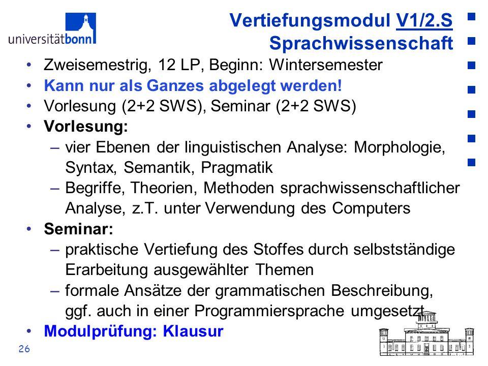 Vertiefungsmodul V1/2.S Sprachwissenschaft