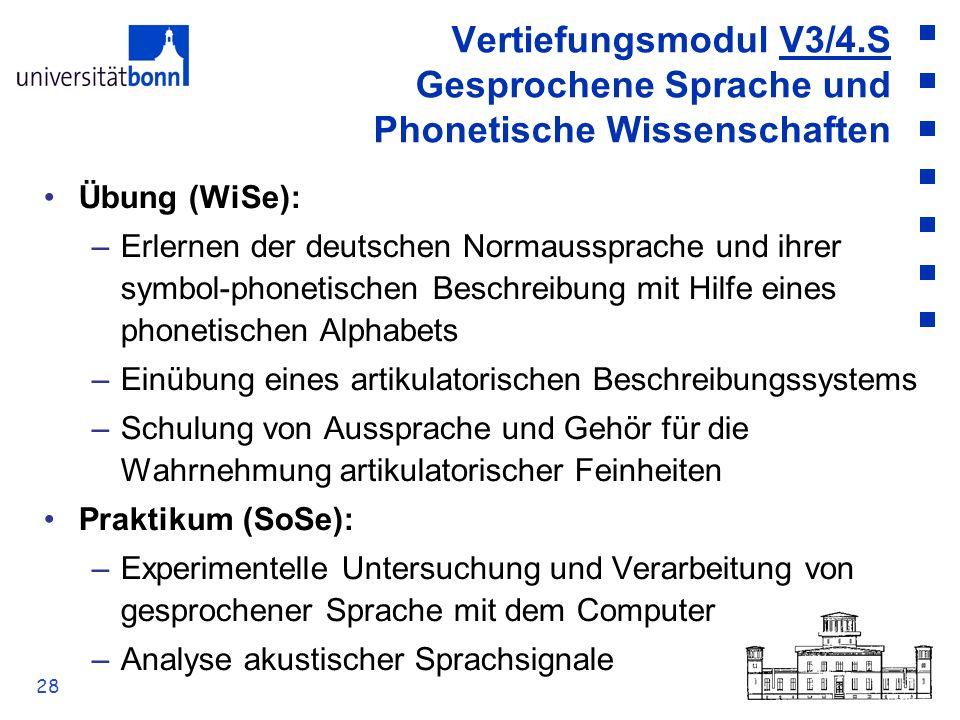 Vertiefungsmodul V3/4.S Gesprochene Sprache und Phonetische Wissenschaften