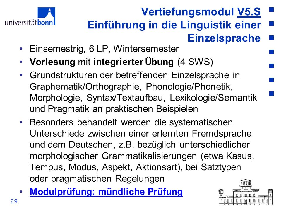 Vertiefungsmodul V5.S Einführung in die Linguistik einer Einzelsprache