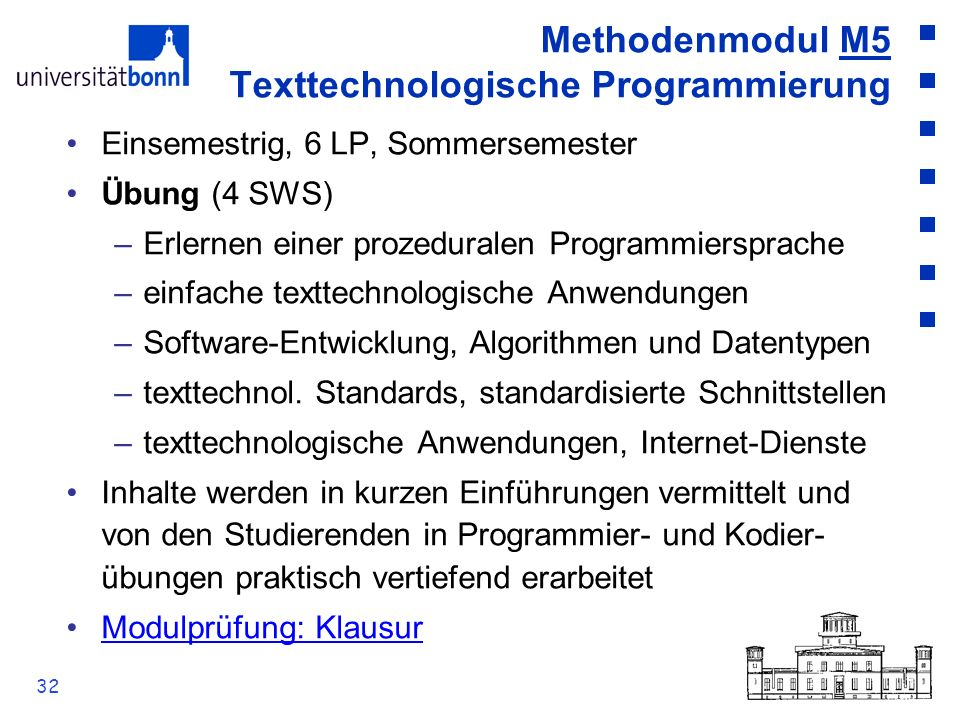 Methodenmodul M5 Texttechnologische Programmierung