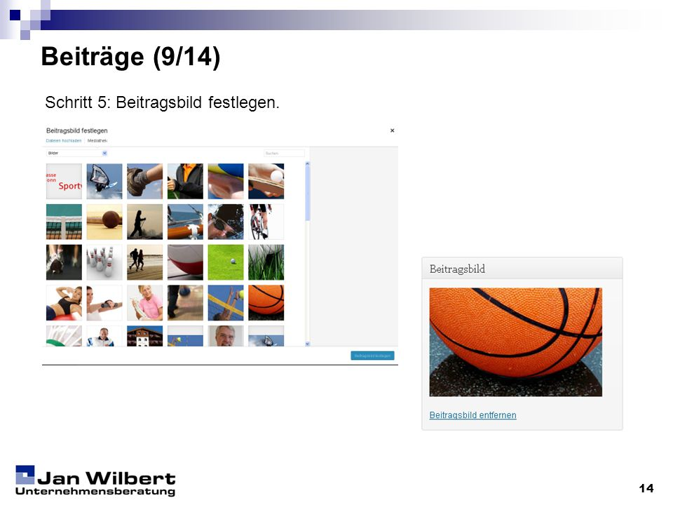 Beiträge (9/14) Schritt 5: Beitragsbild festlegen. 14
