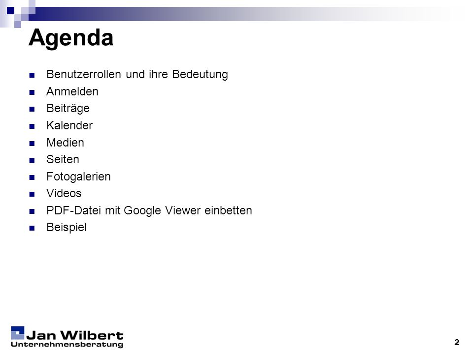 Agenda Benutzerrollen und ihre Bedeutung Anmelden Beiträge Kalender
