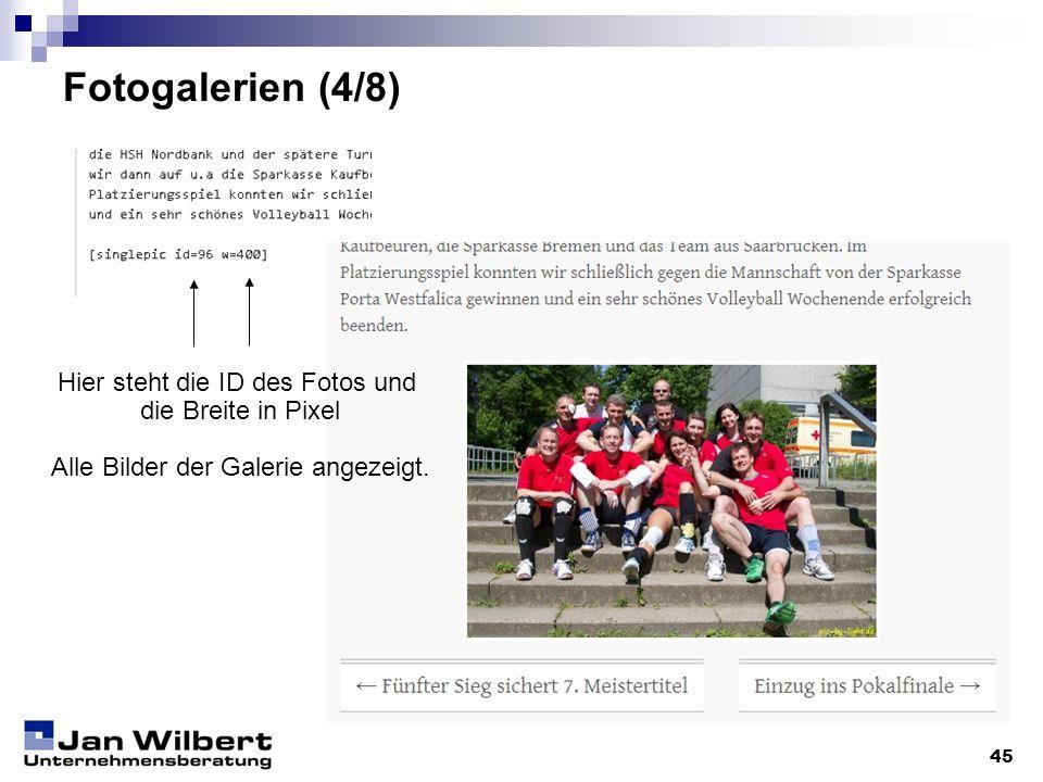 Fotogalerien (4/8) Hier steht die ID des Fotos und die Breite in Pixel