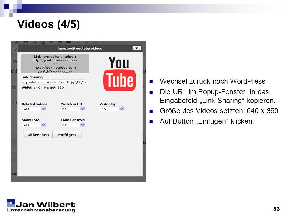 Videos (4/5) Wechsel zurück nach WordPress